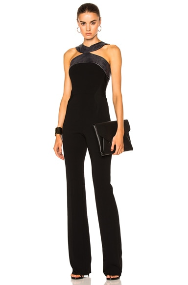 Mugler Fitted Cady Topstitch Jumpsuit in Black