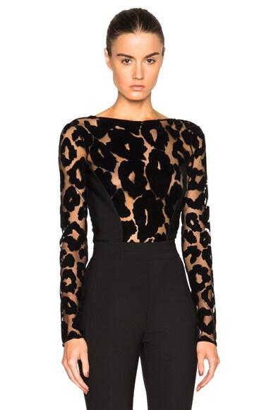 Mugler Leopard Velour & Mega Milano Bodysuit in Black