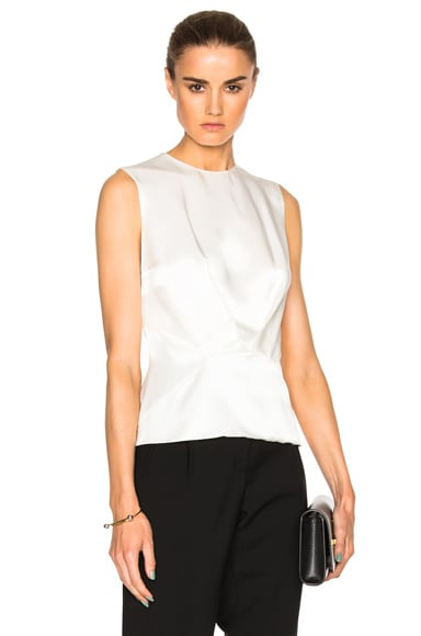 Mugler Satin Crepe Top in Natural White
