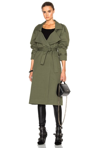 Marissa Webb Corey Canvas Overcoat in Military Green