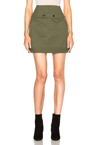 Marissa Webb Ricky Canvas Skirt in Military Green