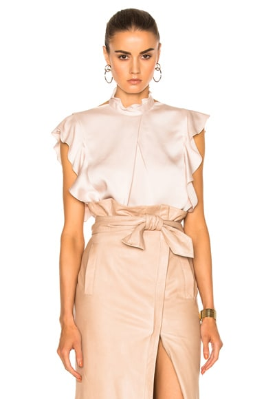 Marissa Webb Sharon Satin Crepe Blouse in Topaz