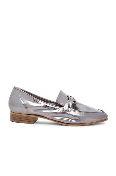 Maryam Nassir Zadeh Leather Manuela Loafers in Gunmetal Metallic