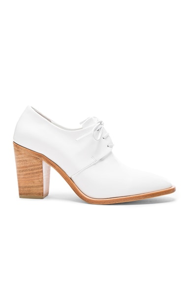Maryam Nassir Zadeh Leather Flavia Heeled Loafers in White Shine