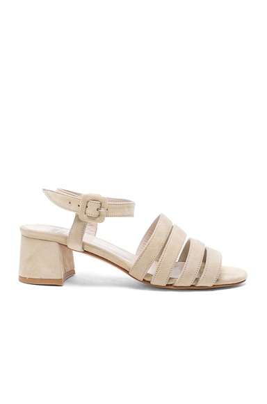 Maryam Nassir Zadeh Suede Palma Low Sandals in Chalk Suede