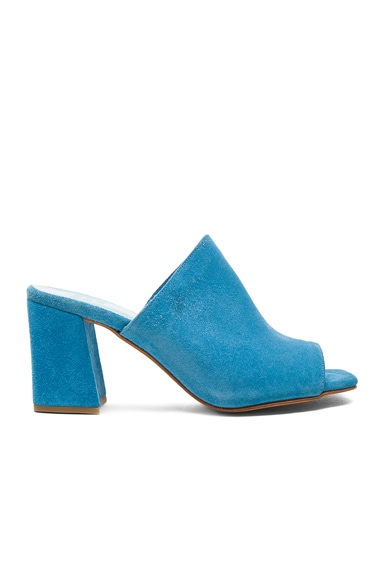 Maryam Nassir Zadeh Suede Penelope Mules in Turquoise Suede