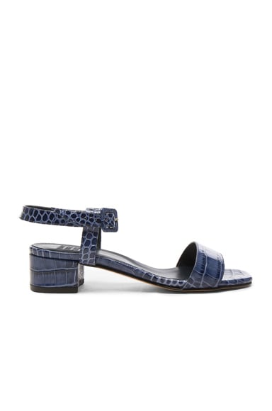 Maryam Nassir Zadeh Embossed Leather Sophie Sandals in Navy Faux Croc