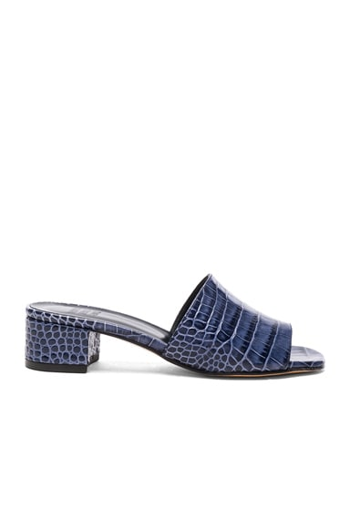 Maryam Nassir Zadeh Leather Sophie Slide Heels in Navy Faux Croc