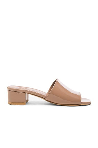 Maryam Nassir Zadeh Patent Leather Sophie Slide Heels in Taupe Patent