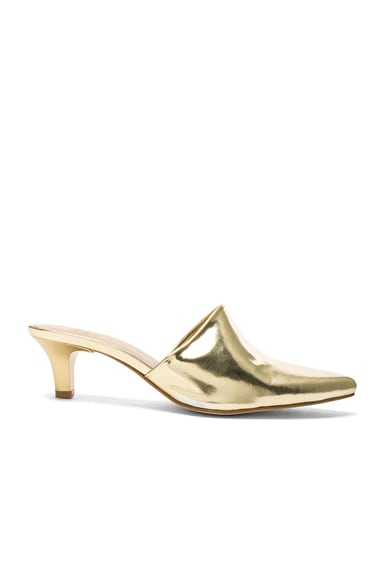 Maryam Nassir Zadeh Leather Andrea Mules in Gold Metallic
