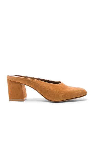 Maryam Nassir Zadeh Suede Maryam Mules in Whiskey Suede
