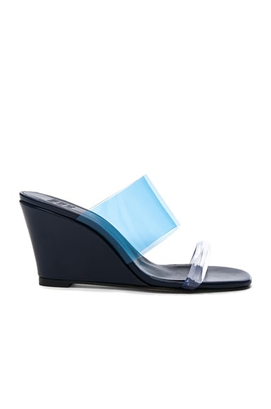Maryam Nassir Zadeh PVC Olympia Wedges in Navy Calf & Blue Plastic