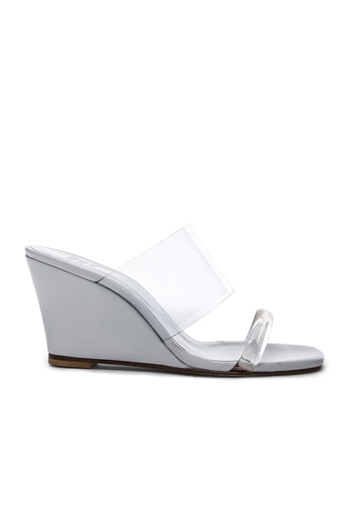 Maryam Nassir Zadeh PVC Olympia Wedges in White Calf & Clear Plastic
