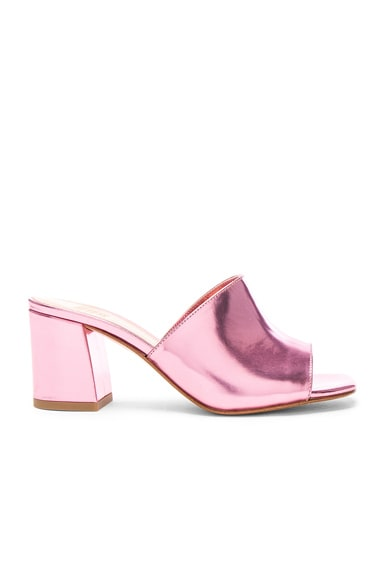 Maryam Nassir Zadeh Leather Mar Mules in Pink Metallic