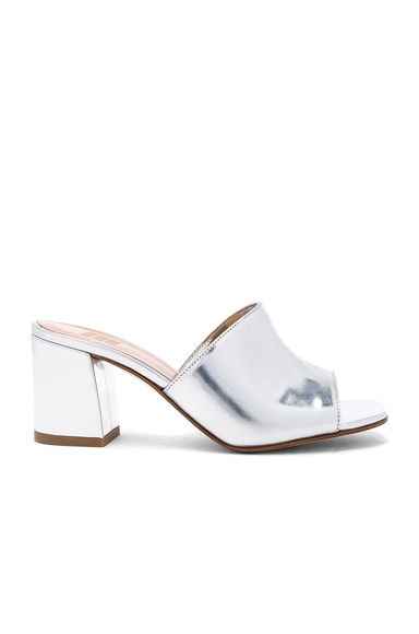 Maryam Nassir Zadeh Leather Mar Mules in Silver Metallic
