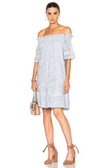 Needle & Thread Off the Shoulder Dress in Dust Blue