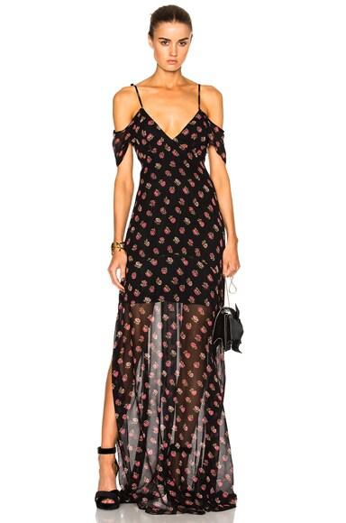 Needle & Thread Prairie Ditsy Maxi Dress in Black & Pink