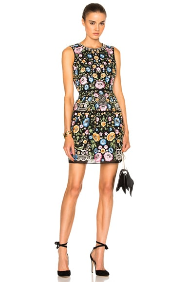 Needle & Thread Sleeveless Lace Foliage Dress in Black