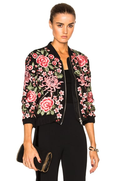 Needle & Thread Embroidered Rose Bomber in Washed Black