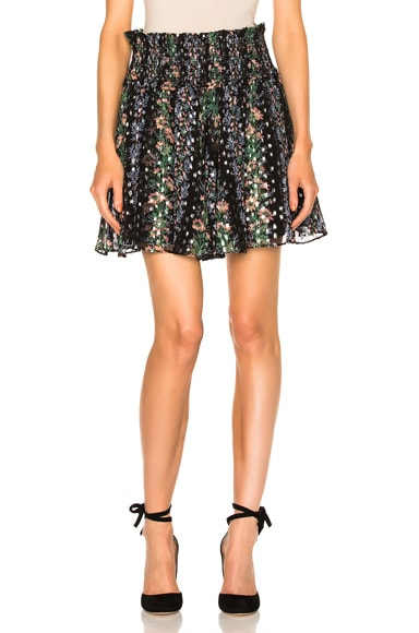Needle & Thread Floral Stripe Skirt in Black