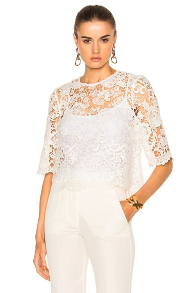 Needle & Thread Floral Lace Top in Chalk