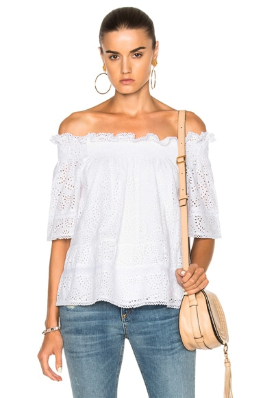 Needle & Thread Off the Shoulder Top in White