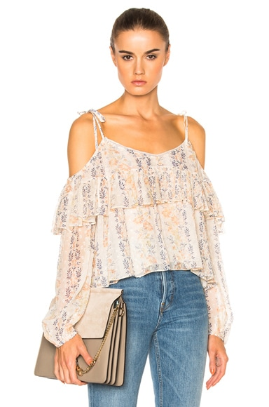 Needle & Thread Floral Stripe Top in Rose Beige