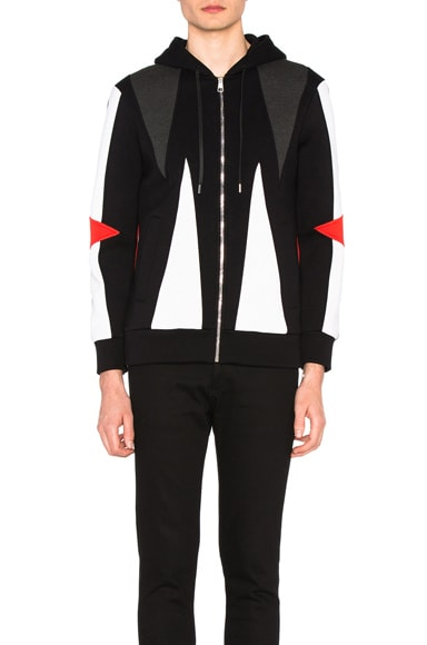 Neil Barrett Abstract Modernist Zip Hoodie in Black, Charcoal & Off White