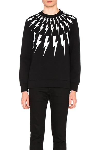 Fair Isle Thunderbolt Print Sweatshirt