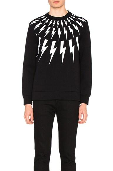Neil Barrett Fair Isle Thunderbolt Print Sweatshirt in Black & White