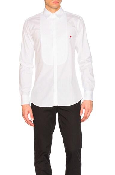 Neil Barrett Icon Graphics Tuxedo Shirt in White & Red