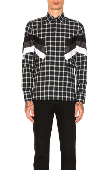 Neil Barrett Modernist Tartan Shirt in Black Plaid
