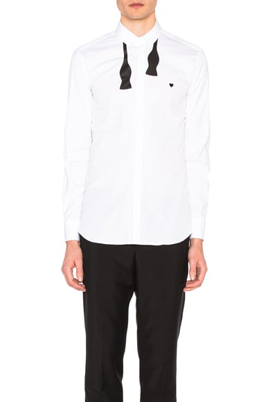Neil Barrett Bow Tie Print Heart Shirt in White & Black