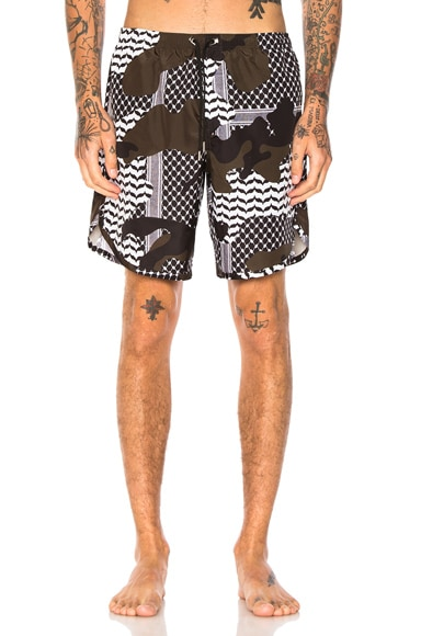 Neil Barrett Camouflage Swim Trunks in Multi