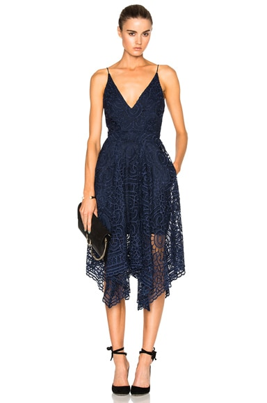 NICHOLAS Floral Lace Ball Dress in Navy