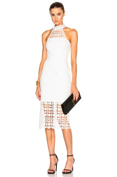 NICHOLAS Mosaic Lace Halter Dress in Ivory