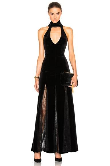 NICHOLAS Velvet Lace Insert Gown in Black