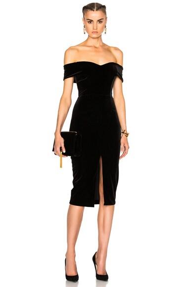 NICHOLAS Off Shoulder Dress in Black
