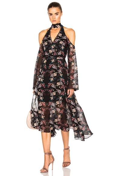 NICHOLAS Wrap Front Dress in Black