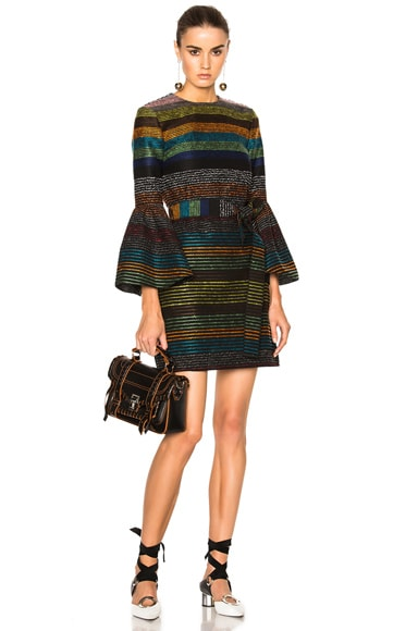 NICHOLAS Pleat Sleeve Shift Dress in Multi