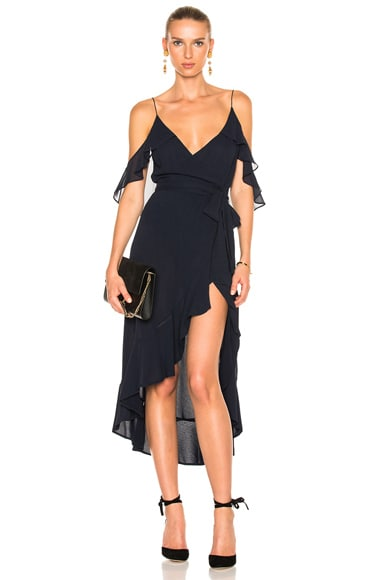 NICHOLAS Georgette Wrap Dress in Navy