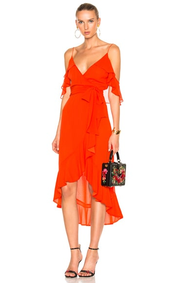 NICHOLAS Georgette Wrap Dress in Poppy Red