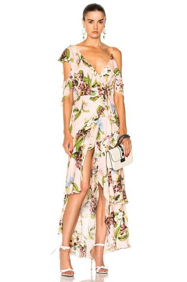 Wrap Flounce Maxi Dress