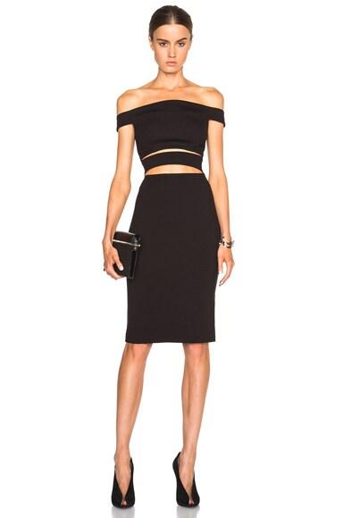 NICHOLAS Ponti Off Shoulder Strap Dress in Black