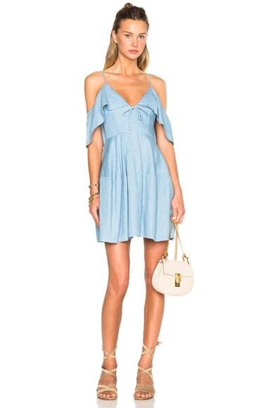 NICHOLAS Chambray Deep V Off Shoulder Dress in Light Blue