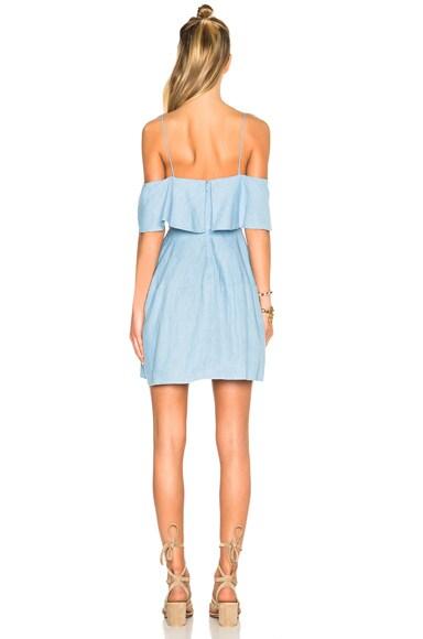 Chambray Deep V Off Shoulder Dress