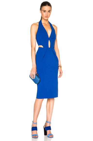 NICHOLAS Plunge Halter Dress in Monaco Blue