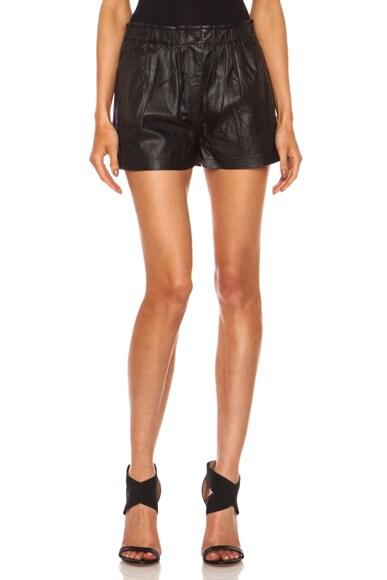Leather Gathered Waist Short