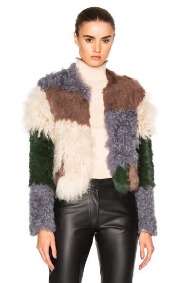 NICHOLAS Mixed Fur Jacket in Mottled Green