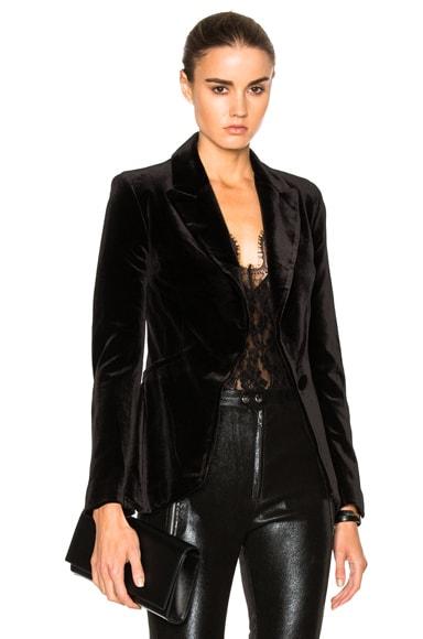 NICHOLAS Velvet Tuxedo Jacket in Black